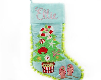 Personalised Pom Pom Beach Tree Stocking