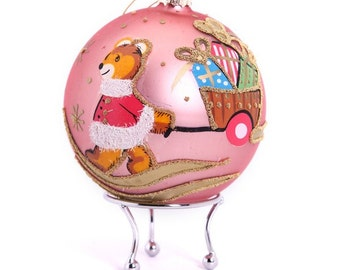 Pink Handpainted Glass Christmas Bear with Cart Bauble
