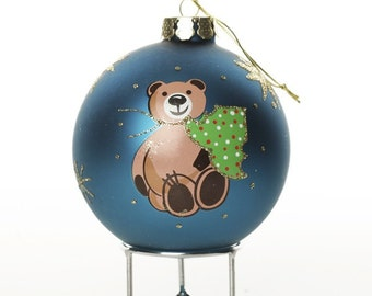 Bright Blue Handpainted Glass Christmas Bear Bauble