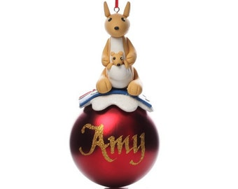 Personalised Red Kangaroo Christmas Character