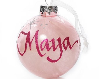 Pink Glass White Feather Personalised Christmas Bauble