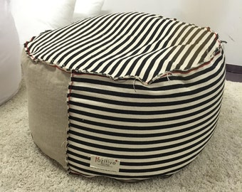 striped  black and white beanbag,  eco style, pouf ,floor cushion gift for her ,ottoman