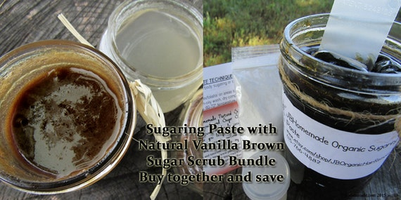 Sugaring Paste and Natural Vanilla Brown Sugar Polish Bundle Save 10% by JBHomemadeShop