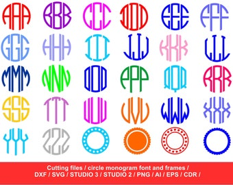 Circle monogram fonts / Silhouette Studio / svg, dxf,  png, ai, eps / circle alphabet font / circle cutting file