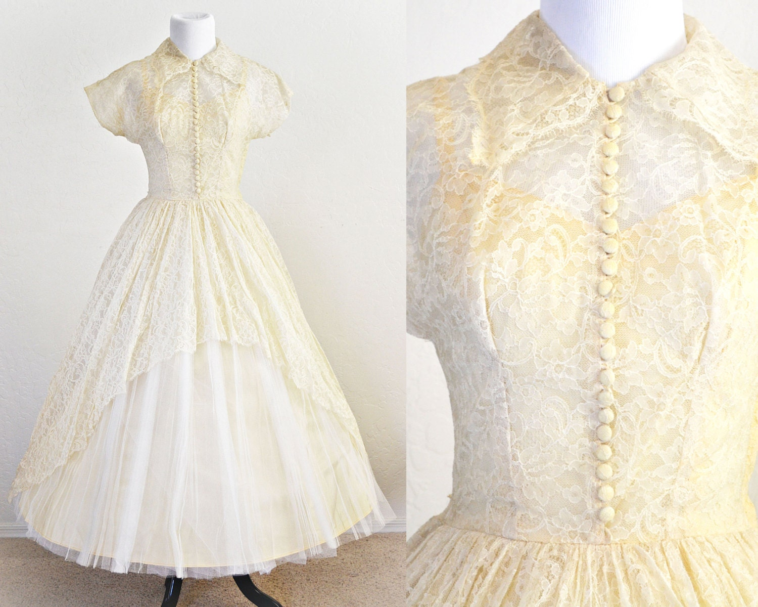 1950s Wedding Dress Lace And Tulle Tea Length