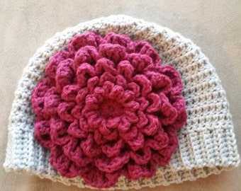 Crochet Hat W/Large Flower: Baby, Child, Teen, and Adult