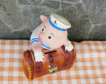 Vintage Sweet Porcelain Piggy Bank, PIGLET sailor WITH the TREASURE, children's gift, memory of 80 years, money saved,  money box
