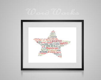"""Personalised Star Word Art **Buy 3 prints get the 4th FREE**  Use coupon code """" MYFREEONE """""""