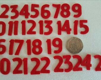 Red Felt Advent Numbers 1 to 25 - Premium 40% Wool Felt - 2cm Tall