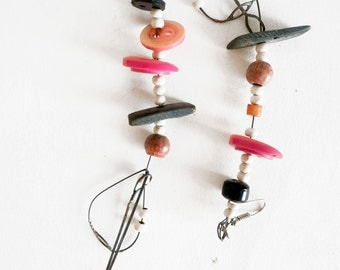 long earrings asymmetric leather earrings made of vegetable tanned leather earrings of recycled and found materials
