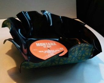 Teal and green vinyl record bowl