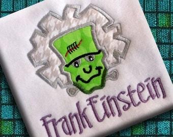 Frank Einstein Frankenstein Halloween Funny Applique Design Boy Machine Embroidery Pattern INSTANT DOWNLOAD Digital File Monster Mash Cute