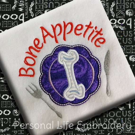Bone appetite funny halloween machine embroidery pattern