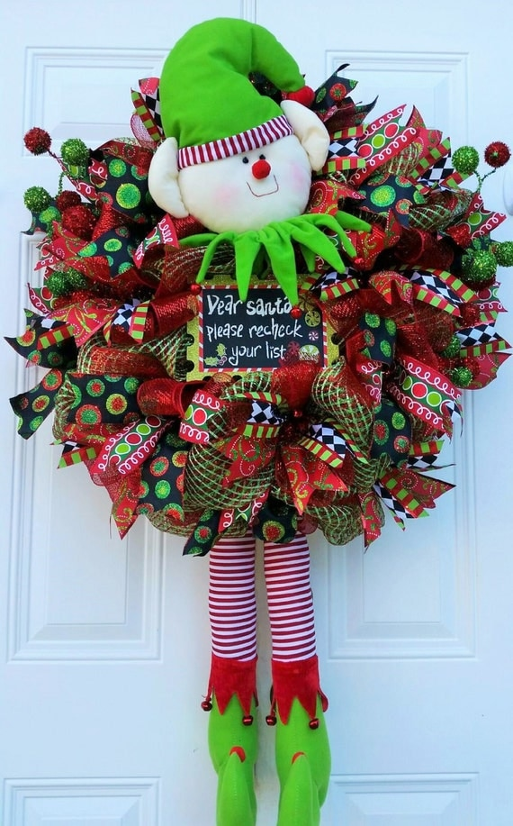 Christmas Elf Wreath Christmas Door Wreath Elf
