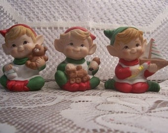 Three Little Elves with Toys Figurines, HOMCO