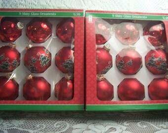 Eighteen Glass Christmas Ornaments