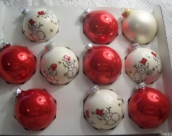 Ten Glass Christmas Ornaments/Red and White with Snowmen