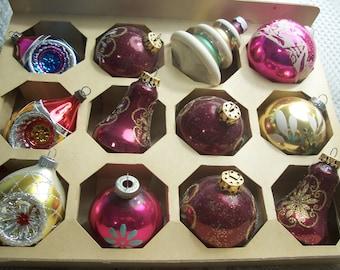 One Dozen Assorted Christmas Ornaments Shiny Brite, West Germany, Poland