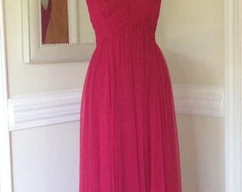 On Sale 1960's  Raspberry Chiffon Evening Gown