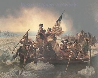 "Emanueal Leutze ""Washington Crossing the Delaware"" 1851 Reproduction Digital Print Vintage History Art"