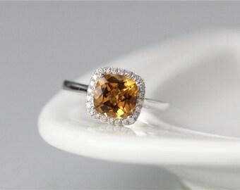 14K White Gold Yellow Citrine Ring 8mm Cushion Cut Citrine Engagement Ring Stacking November Birthstone Ring Promise Ring Anniversary Ring