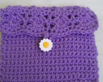 Lavender cosmetic purse, coin purse with flower button