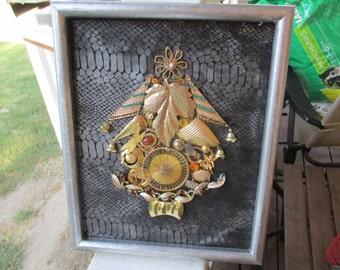 """Jeweled Christmas Tree Framed 9"""" X 10 1/2"""", Jewelry Framed Christmas Tree"""