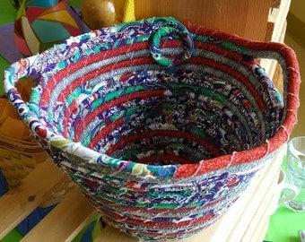 Basket, Coiled Fabric Egg Basket