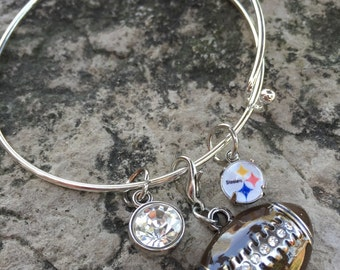 Pittsburgh steelers bangle with swarovski accents