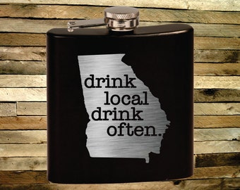 Custom Flask. Pick Any State & Text. Custom Pocket Flask. Drinkware. Wedding Gift. Personalized Flask.