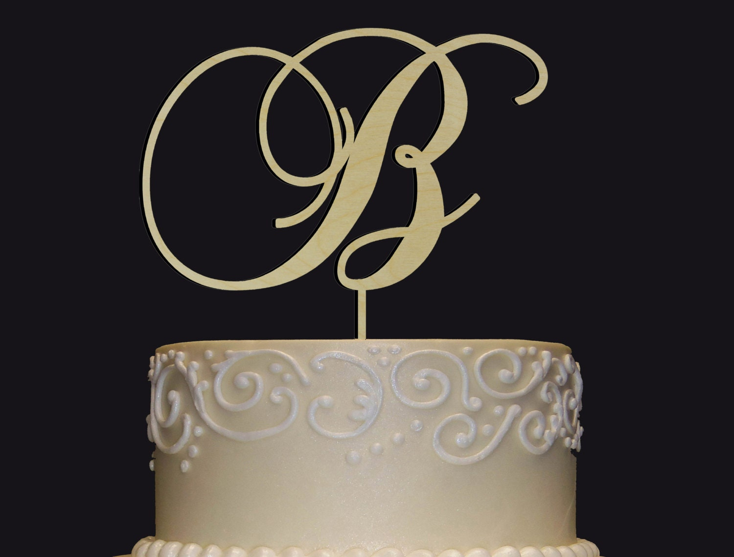 Personalized Monogram Wedding Cake Topper Rustic Chic