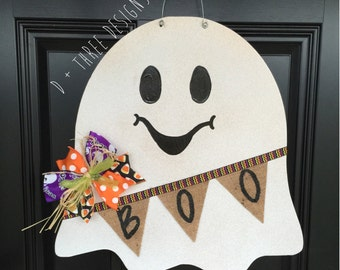 Shimmering Ghost Wooden Door Hanger // Halloween Door Decor // Fall Door Decor // Rustic Door Hanger Wreath