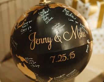 Wedding guest globe | hand painted globe guest book | guest book alternative