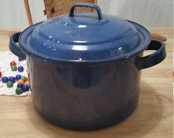 Vintage Blue Enamelware Stock Pot Medium