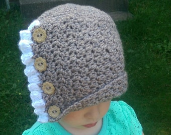 Crochet winter cloche with ruffles and wooden buttons toddler child adult vintage style hat crochet winter hat
