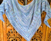 Sea and Stars Hand Knit Lace Alpaca and Wool Shawl in Blue Shades from My Original Design