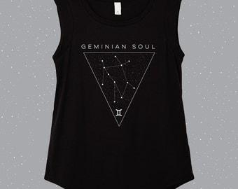 Geminian Soul | Gemini Sleeveless Shirt, astrology shirt, constellation shirt, Zodiac shirt, Zodiac top