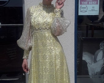 FREE SHIPPING! Vintage Yellow beaded maxi dress 1970!! Heavy beadwork!!!