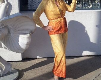 1970's Vintage 2-Piece Jumpsuit and Blouse for Women Size 8 Free Shipping