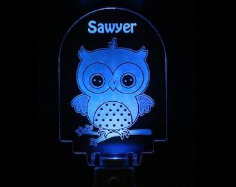 Owl Night Light Personalized Baby Boy