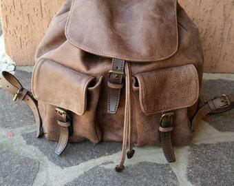 Rucksack brown leather