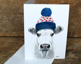"""Greeting cards – The cow """"A warm country"""" by Marisa Eleuterio"""
