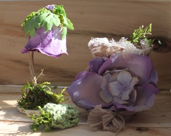 Woodland Miniature Petal Lamp (Twinkle Light) , Hydrangea Bunting and Pillow ~ Terrarium Accessories, Fairy Lamp, Miniature Garden
