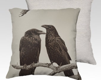 """Two Ravens Photographic Pillow (18"""" x 18"""" and 22"""" x 22"""")"""