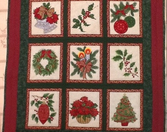 Quilted Nine Patch Christmas Quilt