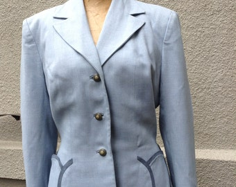 Vintage light blue tailored fitted womens jacket 1940's