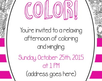Coloring Party Invitation
