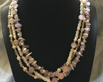 Vintage Triple Strand Pink White Light Pink Gold Beads apprx 16 inch necklace