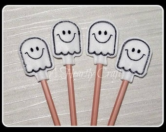 Felt Ghost Pencil Topper **WITH PENCIL** Handmade Embroidered Halloween Party Favors Celebration Christmas Xmas Gift
