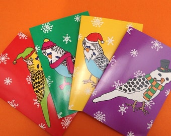 "Set of 4 Budgerigar / Budgie ""Budgericard"" Christmas Cards Bird Lovers Pets Cute Feathers Parakeet Card Pack Multibuy Funny Colour Festive"